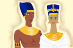 Armana Pharaoh and Queen by lorenamikulich