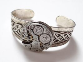 Steampunk celtic bracelet by Hiddendemon-666