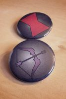 Avengers Inspired Buttons - Black Widow Hawkeye by Monostache
