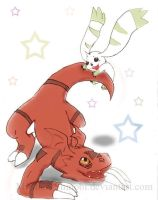 Guilmon and Terriermon by MIT-Hellan