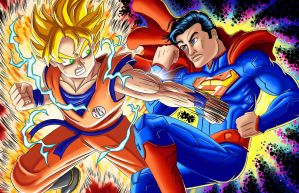 ERB or Death Battle: SonGoku vs Superman by SemajZ