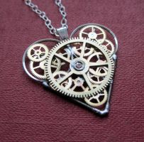Amazement Clockwork Heart Necklace by AMechanicalMind