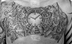 Clockwork Tattoo Pink Chestpiece by tattoopink