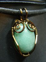 aventurine in square bronze by BacktoEarthCreations