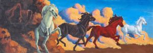 Four Horses of the Apocalypse by madkarldisease