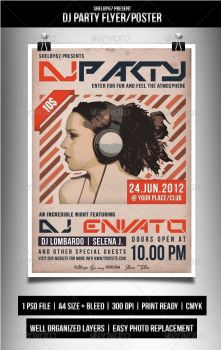 DJ Party Flyer / Poster by Eleanor67