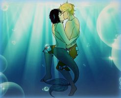 Underwater Kiss *The Surfer and the Merman* by CrystalSexyAss