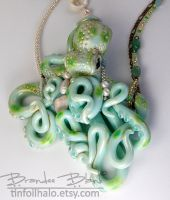 Porcelain Teal Octopus Necklace by TinfoilHalo