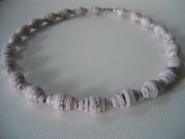 Pink Paper Bead Necklace by MitranarChaos