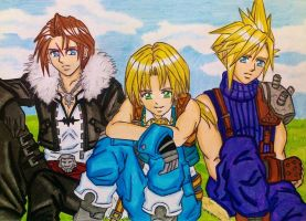 FF Handsome Heroes: Squall, Cloud and Zidane by dagga19