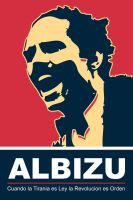 Albizu - Red Poster by exvoxdesigns