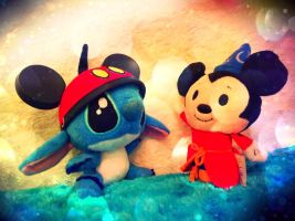 Stitch meets Mickey Mouse by firegirl1995