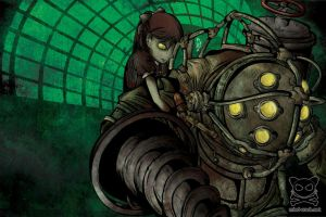Bioshock - Little Sister and Big Daddy by mind-crash