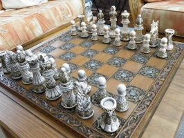 Ornate Themed Chess Set Matching Board by littleme1969