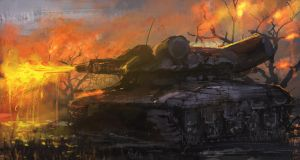 Daily spitpaint - Flamethrower tank by novaillusion