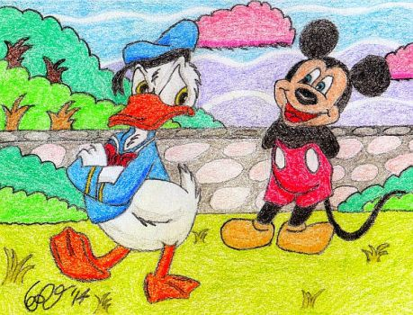 Donald Duck and Mickey Mouse by WrongWayWhiskers