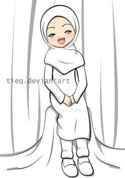 AT: Girl in White Hijab by tieq