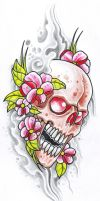 Pink Flower Skull by vikingtattoo
