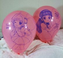 Sakura and Tomoyo (Handdrawing on the balloon) by Solatokimi
