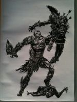 God of War 3 drawing by Chriluke