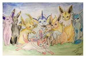 Pokemon Eeveelutions - Birthday Present by midnightc10