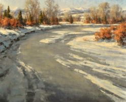 Greg Scheibel 'Jefferson River' Oil 24q by OilPaintersofAmerica