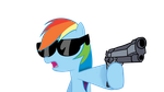 Rainbow Dash holding a gun by cipherpie