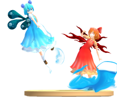 MMD Trophy: Korone's Water and Fire Cirnos by Rea-Usax