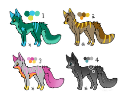 Fox Adoptables Set 1 .:Open:. by MangoAdopts