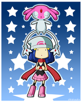 Pokemon DP Girl and Mesprit by CubeWatermelon