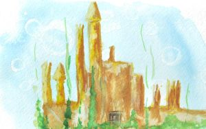 Watercolor freehand: Palace( happy bday Tome!) by Roseprincess1