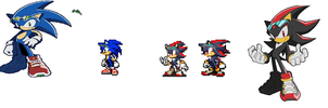 new sonic and shadow sprite by 100hypersonic