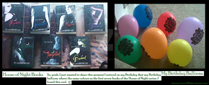 The House of Night Books and my Birthday Balloons by Horsey-Luver450