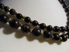 Graduated Black Coral Beaded Necklace by SadiesAccessories