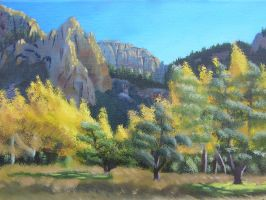 Trees and Mountains by QTroubadour