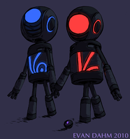 Robots holding hands by devilevn