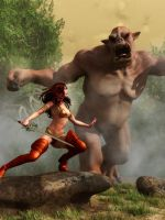 Barbarian Woman vs. Ogre by KayleeMason