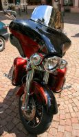 Red and black Harley by MorganeS-Photographe