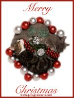 Merry Christmas Cat Wreath by JuliaGraceArts