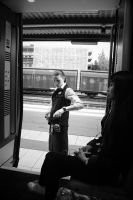 Commuter Train Ticket Collector Moment by PEN-at-Work