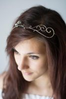Swirly Circlet with Gold Beads by MirielDesign