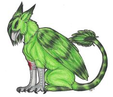 Green and Black Gryphon by Auralei