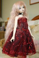 ruby red lace dress for unoas and minifees by CandyKittensEmporium