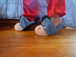 Eeyore scuff slippers, side by ExileLink