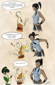 Aang Meets Korra by rice-claire