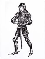 Armored Woman (rough inks) 2-7-2014 by myconius