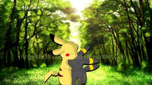 Pikachu and Umbreon by AnguishOfTheDamned