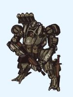Downfall - Curtis M6 armored suit sketch by Kvlticon