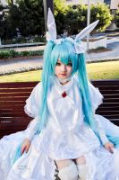 :Vocaloid - Hatsune Miku white bunny fan art ver2 by KeikNyan