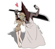 Pyramid Head and Bubble Head Nurse by irosyan